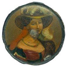 Papier-mâché Snuff Box featuring Portrait of Lovely Lady