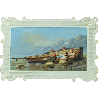 Miniature French 19th Century Signed Watercolor Featuring Breton Fisherman