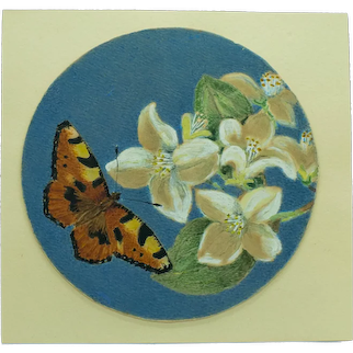 Antique Miniature Hand Painted Butterfly and Lilies