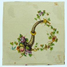 Antique Miniature Hand Painted Watercolor Cornucopia