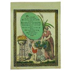 Antique Miniature Biedermeier Hand Colored Print