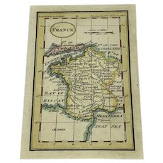Antique miniature map of France - hand colored