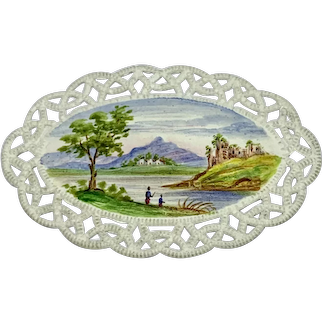 Antique miniature landscape painting on embossed card