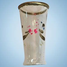 Clear glass vase with gold rim and painted details