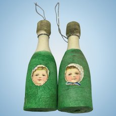 Pair miniature spun cotton champagne bottle ornaments