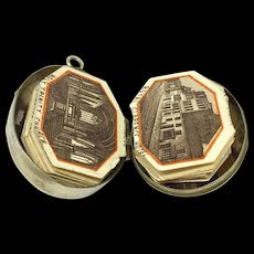 Victorian agate specimen locket with miniature souvenir book of Ilfracombe - Red Tag Sale Item
