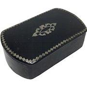 Ebonized papier mache snuff box with metal pique work
