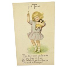 Postcard girl with doll by Gibson Art Company - Red Tag Sale Item