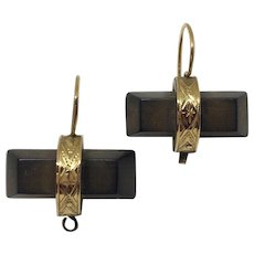 Victorian 14K and vulcanite mourning earrings