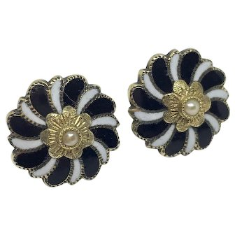 Victorian black and white enamel mourning earrings