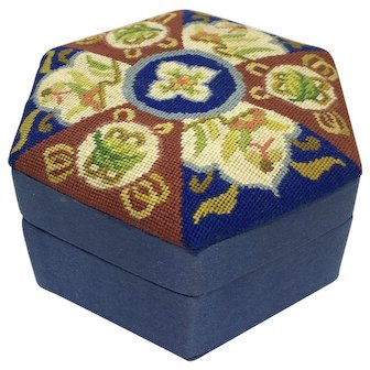 Vintage petit point and silk trinket box