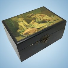 Clark's wooden spool box with dog and child reading