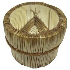 Vintage Native American porcupine quill basket