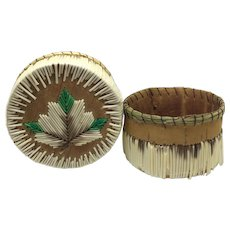 Vintage Native American porcupine quill basket with maple leaf