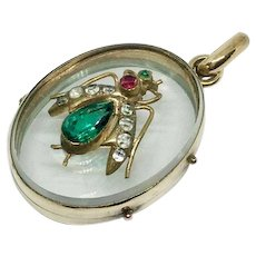 Antique Victorian fly locket set with paste stones