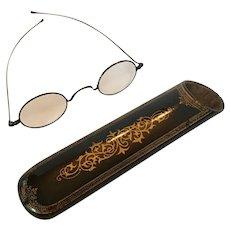 Papier Mâché eyeglasses case with spectacles inside