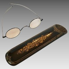 Papier Mâché eyeglasses case with spectacles inside