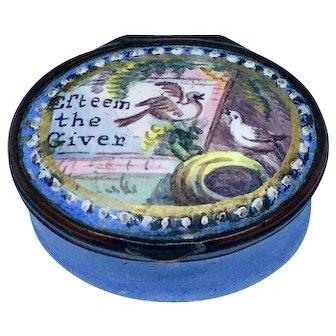 Battersea Bilston English enamel motto patch or snuff box