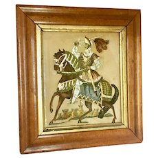 Antique tinsel print of knight on horse