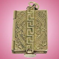 Antique book shaped locket