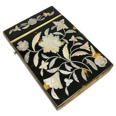 Antique card case with mother of pearl inlay and pique work