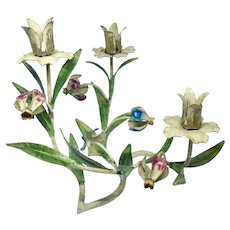 Italian tole floral candleholder