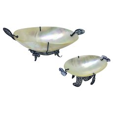 Pair of mother of pearl and metal filigree dishes