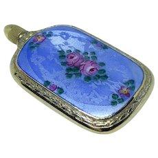 Guilloche enamel sterling miniature lay flat perfume flask