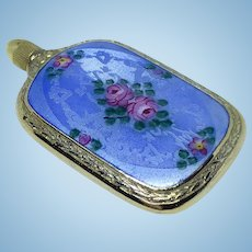 Guilloche enamel sterling miniature lay flat perfume flask