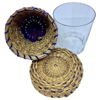 Vintage lidded sweet grass basket with removable glass tumbler
