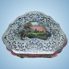 Antique continental coin purse with glass landscape panel