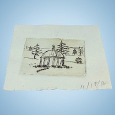 Miniature original etching of garden temple or folly