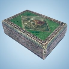 Antique paper box with applied decorative trim