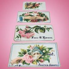 Set of four antique miniature calling cards