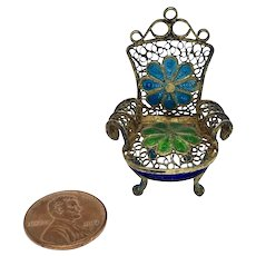 Miniature filigree and enamel chair