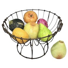 19th c. Wire Basket with collection of Stone Fruit