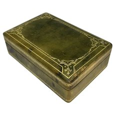Wood lined leather trinket box