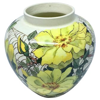 Royal Sphinx vase with yellow roses and spiderwebs