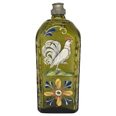 Vintage Stiegel-type enamel decorated glass bottle with Rooster