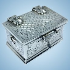 Miniature hand engraved .835 silver chest