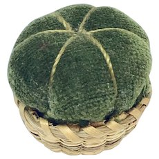 Tiny velvet and sweet grass pin cushion basket