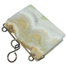 Book shaped watch fob or pendant in alabaster