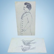 Set of two graphite drawings on 19th c. cards