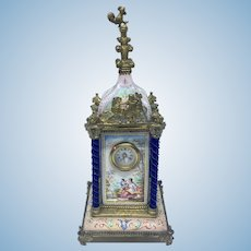Antique 19th c. French enamel mantel clock