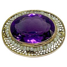 Antique 14K gold, amethyst, and cultured pearl brooch