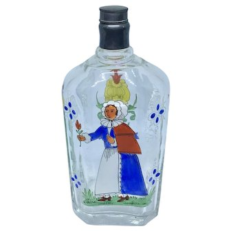Vintage Stiegel-type enamel decorated glass bottle with woman and flower