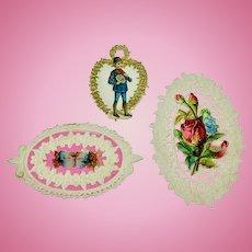 Set of three antique Valentine's Day scraps