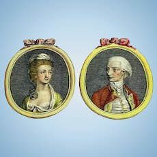 Antique pair of hand-colored engraved portraits