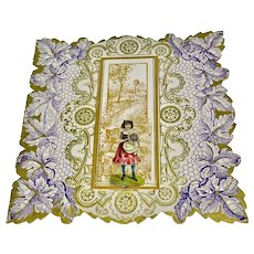 """Embossed valentine with die-cut edges - """"The tender influence of spring..."""""""