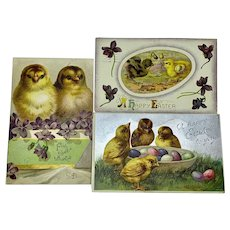 Set of three Easter postcards with chicks